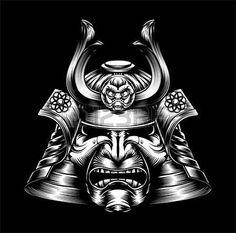 Un regard moyen masque samoura japonais et casque warr illustration Banque d'images