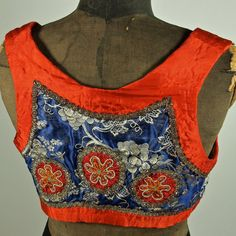Czech Antique Moravian Red and Blue Brocade Folk by prettyinprague, $92.00
