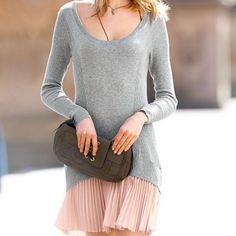 ✨HP✨Victoria's Secret Gray & Pink Dress NWOT Gray sweater dress with pink accordion skirt. Great condition, never been worn. Host pick. Victoria's Secret Dresses Long Sleeve