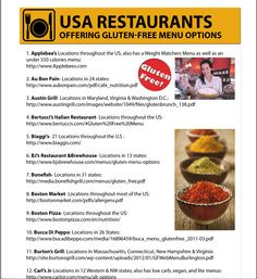 This is a list of chain restaurants in the US that have a gluten free menu or gluten free options.