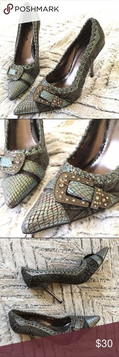 Selina Teal Faux Snakeskin Gray Tapestry Heels Selina by Summer Rio Vegan Teal  Snakeskin and gray Tapestry stiletto pointy heels, with oversized metal buckle embellishment. Simply gorgeous! In very good pre-owned condition with one small mar on left heel (see photos). Size 6.  🎀Search my closet for your size 🎀BUNDLE and SAVE! 🎀REASONABLE offers WELCOME 🎀NO TRADES NO HOLDS 🎀Thank you for stopping by!❤️ selina Shoes Heels
