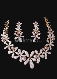 Noble Gold Pearl Flower Bridal Jewelry Set. Earrings Size 6*2.2 cmPendant Size 5.2 cmChain Length 42 cm. See More Wedding Jewelry Sets at http://www.ourgreatshop.com/Wedding-Jewelry-Sets-C924.aspx