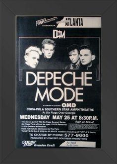 HIGH QUALITY WOOD FRAMED Depeche Mode Six Flags Georgia 11x17 Concert Poster