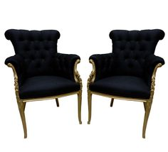 Midnight and Gilt Armchairs by Paul Iribe