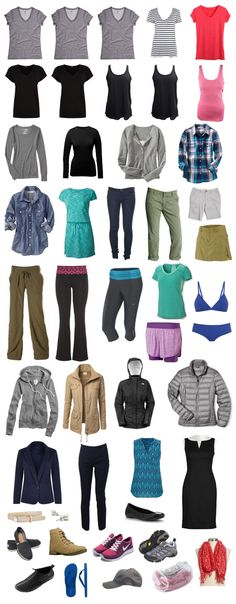 The essentials of a woman's full-time travel wardrobe. A nearly-all-season wardrobe that fits in two milk crates. Includes packing list & work attire ideas.
