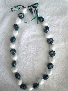 Philadelphia Eagles Necklace Large Beads Ribbon Ties NFL Football New