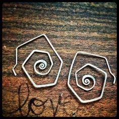 Swirl hoops made from sterling silver. Handmade Gypsy Lotus Earrings  on Etsy, $38.00