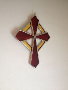 Cross Stained Glass Small Window Decoration Sunburst
