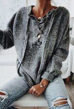 lace up sweater + distressed skinny jeans