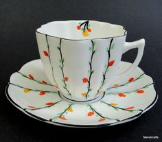 Melba UK Tea Cup & Saucer Flower Bud Stems Christmas Lights Art Deco Bone China
