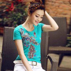 艾路丝婷2015新款夏装大码韩版女装修身体恤短袖打底衫T恤女B2925-tmall.com天猫