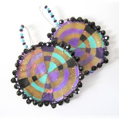 Parfleche Earrings by Sun Rose Iron Shell (Sicangu/Oglala Lakota)