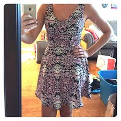 Colorful Summer Dress Only worn once! This is a very cute summer dress. It is light weight and has a zipper on the back. Brand new condition. Second picture shows the pattern and colors one clothing Dresses