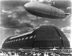 U.S.S. Akron at Goodyear Zeppelin Dock in Akron, Ohio. 1931.  Although the Hindenburg is the most famous of airship disasters, it was not the worst. Over twice as many perished on the USS Akron in 1933 (73 of 76 on board) when the helium-filled U.S. Navy scout airship crashed at sea off the New Jersey coast four years before the Hindenburg disaster.