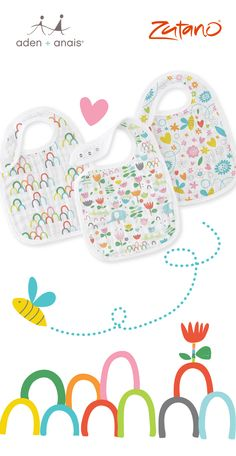 Aden + Anais Keep your little one mess-free with our vibrant (and new) @zutano snap bibs! Little snaps make these bibs adjustable, allowing for extended use as your baby continues to grow. And with easy peasy washing, you'll be so glad to have three!