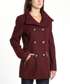 Look at this #zulilyfind! Wine Military Wool-Blend Peacoat #zulilyfinds