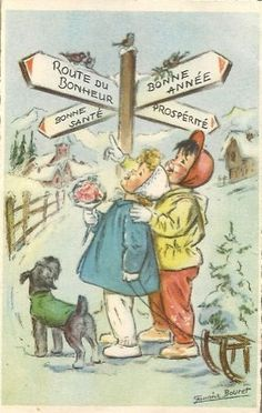 Happy New year and Good Luck ! Christmas Mood, Vintage Christmas, Merry Christmas, Vintage Postcards, Vintage Images, New Year Greetings, New Year Card, Vintage Greeting Cards, Mail Art