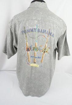 Tommy Bahama Gray Silk Embroidered Fishing Hawaiian Button Front Shirt Men's (L) #TommyBahama #Hawaiian