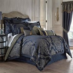 Add a royal touch to your bedroom with the opulent Waterford Linens Vaughn Reversible Comforter Set. In deep sapphire and gold hues, the beautiful bedding uses its striking over-scaled damask to bring a rich and deep look to your bed. Navy Comforter, Queen Comforter Sets, Blue Bedding, Bedding Sets, Queen Bed Comforters, Waterford Bedding, Bedding Inspiration, Gold Bedroom, Bedroom Decor