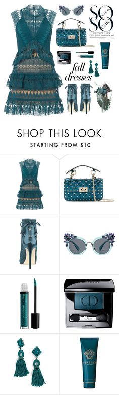 """""""Fall Dresses - TS 9/12/17"""" by neverboring ❤ liked on Polyvore featuring self-portrait, Valentino, Miu Miu, NYX, Christian Dior, BaubleBar, Versace, DateNight, lace and contestentry"""