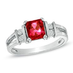 Radiant-Cut Ruby and 1/10 CT. T.W. Diamond Ring in 14K White Gold - Zales