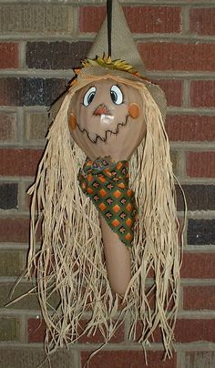 Scarecrow Gourd for Fall Hand Painted Gourd by FromGramsHouse, $30.00
