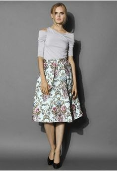 My Fair Lady Baroque Embroidery Midi Skirt - Retro, Indie and Unique Fashion