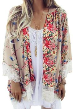 Women's Clothing Faithful Womens Summer Chiffon Open Sleeves Swimsuit Cover Up Ethnic Vintage Floral Graphic Kimono Cardigan Tassels Trim Scarf Shawl