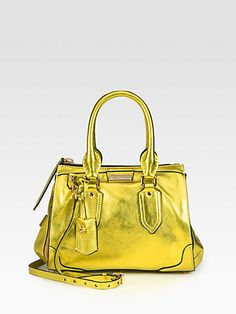 Burberry Prorsum: bright and metallic leather style handle bag @Burberry