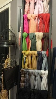 Use Old Ladder To Hang And Display Clothes