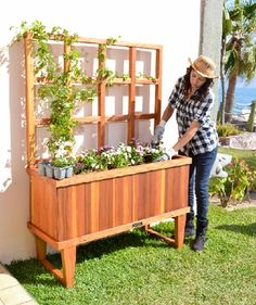 This is a pretty swanky redwood planter.