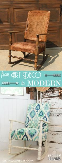 Art Deco Rocking Chair Gets a Modern Ikat Makeover by Prodigal Pieces | www.prodigalpieces.com