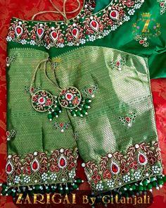 Zarigai By Gitanjali Chudidhar Neck Designs, Fancy Blouse Designs, Bridal Blouse Designs, Hand Work Blouse Design, Stylish Blouse Design, Pattu Saree Blouse Designs, Maggam Work Designs, Lagerfeld, Girls