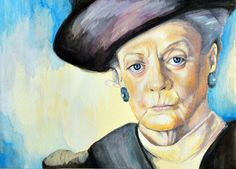 Portrait of Maggie Smith Dowager Countess by ashleywhitejacobsen, $14.00