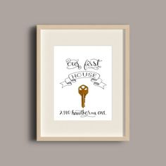 A great way to remember where you came from. Celebrate the memory of your first house, apartment, place or home by framing the key with this lovely lettering and banner background.