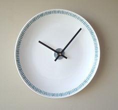 White Modern Clock Slate Blue White Wall Clock by makingtimetc