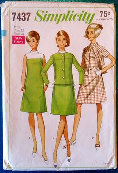 Vintage 1967 dress and jacket sewing pattern  Simplicity 7437