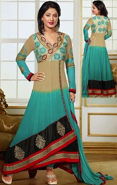 Picture of Enigmatic Beige and Greenish Blue Color Fashionable Anarkali Suit