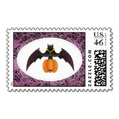 #Purple Hairy #Halloween #Bat #Postage #Stamps