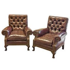 Pair of Mahogany Study/Club Chairs in Leather