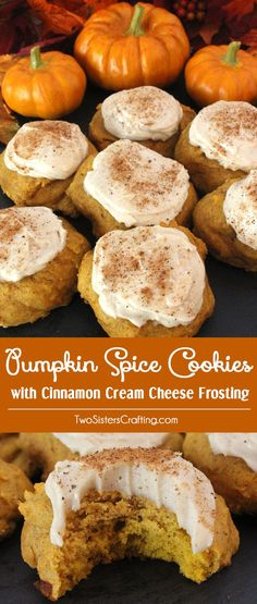 Pumpkin Spice Cookies with Cinnamon Cream Cheese Frosting are the perfect Fall Cookies and a wonderful choice for a Christmas Cookie Exchange. This cookie tastes just like Pumpkin Pie which makes it a great Thanksgiving Dessert idea. And with the deliciou Fall Recipes, Holiday Recipes, Yummy Cookies, Fall Cookies, Cookies Vegan, Sugar Cookies, Baking Recipes, Dessert Recipes, Frosting Recipes