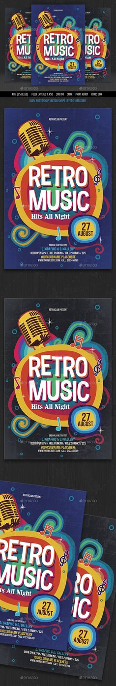Retro Music Flyer — Photoshop PSD #club #karaoke flyer • Available here → https://graphicriver.net/item/retro-music-flyer/16447677?ref=pxcr