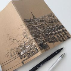 Now onto the back page #art #drawing #pen #sketch #illustration #linedrawing #paris #france #city #cityscape #architecture #moleskine #moleskineart - - #Architecture