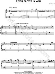 I found digital sheet music (easy piano) for 'River Flows In You' at Musicnotes