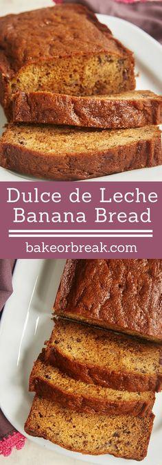 A little swirl of sweet, rich dulce de leche adds such wonderful flavor to this Dulce de Leche Banana Bread. - Bake or Break ~ http://www.bakeorbreak.com