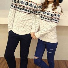 Couples Snowflake Sweater (Non-refundable) Shirt Makeover, Matching Couple Outfits, Matching Couples, Couples Christmas Sweaters, Matching Christmas Sweaters, Boyfriend Girlfriend Shirts, One Direction Shirts, Matching Sweaters, Fashion Couple