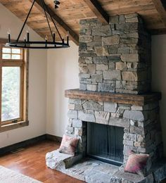 Top 70 Best Stone Fireplace Design Ideas - Rustic Rock Interiors Discover traditional style with the top 70 best stone fireplace design ideas. Explore rustic rock wall interiors with the glow of a wood fired flame. Stone Fireplace Designs, Stone Fireplace Surround, Natural Stone Fireplaces, Fireplace Logs, Cottage Fireplace, Rock Fireplaces, Rustic Fireplaces, Fireplace Ideas, Wood Burning Fireplaces