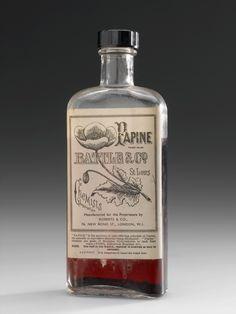 "Bottle of ""papine"" opiate pain killer. London England For elixirs Old Medicine Bottles, Antique Bottles, Vintage Bottles, Bottles And Jars, Antique Glass, Vintage Ads, Glass Bottles, Perfume Bottles, Vintage Signs"
