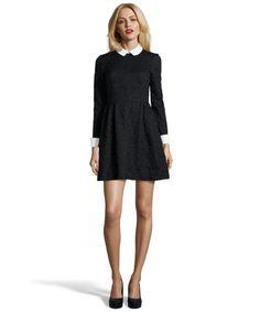 JILL Jill Stuart black and white cotton blend lace fit and flare dress