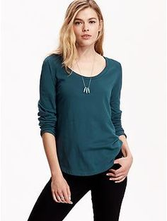 Women's Long-Sleeve Scoop-Neck Tees | Old Navy